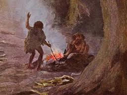 cavemen-using-light-from-fire