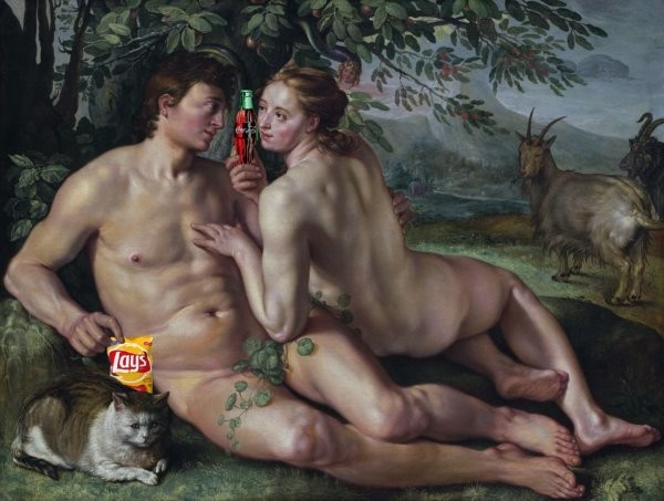 junk-food-liquid-candy-hits-early-in the-genetic-pool-adam-eve-getting-down-with-frito-lay-and-coke
