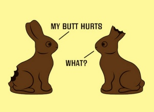 two-chocolate-bunnies-talking-to-each-other-my-butt-hurts-what-cant-hear