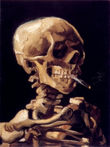 skull-with-a-burning-cigarette-in-between-teeth-Van-Gogh